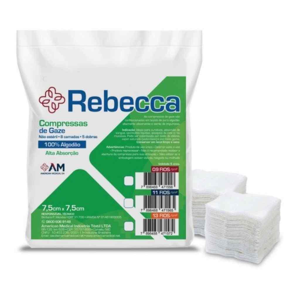 Amparar BH - Compressa de Gaze Não Estéril 7,5 x 7,5 Cm Pct C/ 500 - América (Rebecca) 9 Fios - Compressa de Gaze Não Estéril 7,5 x 7,5 Cm Pct C/ 500 - América (Rebecca) 9 Fios