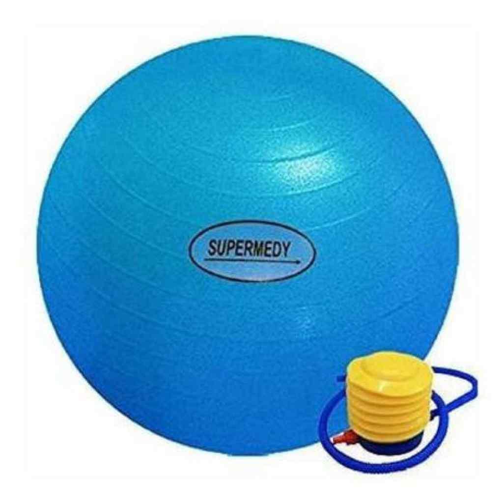 Amparar BH - Bola de Pilates 65 cm Azul c/Bomba Supermedy - Bola de Pilates 65 cm Azul c/Bomba Supermedy